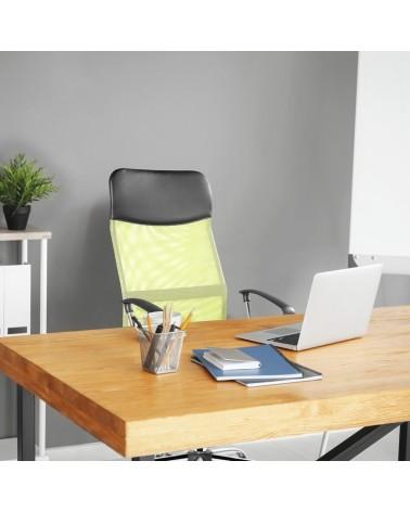 Zeleno-černá stolní židle s ergonomicky tvarovaným sedadlem.