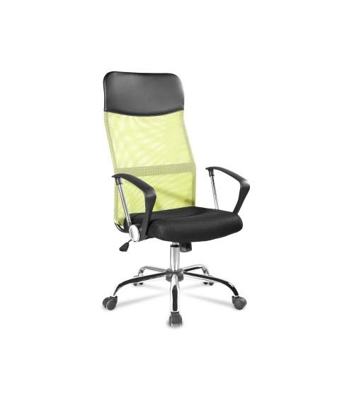 Zelená ergonomická kancelářská židle s funkcí otáčení.