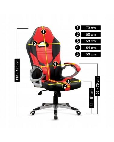Kancelářská židle v červené barvě s ergonomicky profilovaným sedákem.