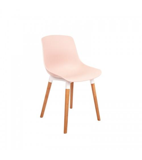 Růžová jídelní židle s dřevěnými nohami