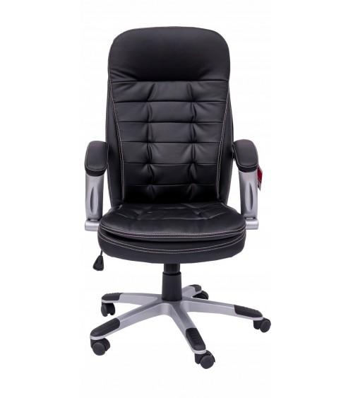 Kožená kancelářská židle s područkami a pohodlným sedadlem.