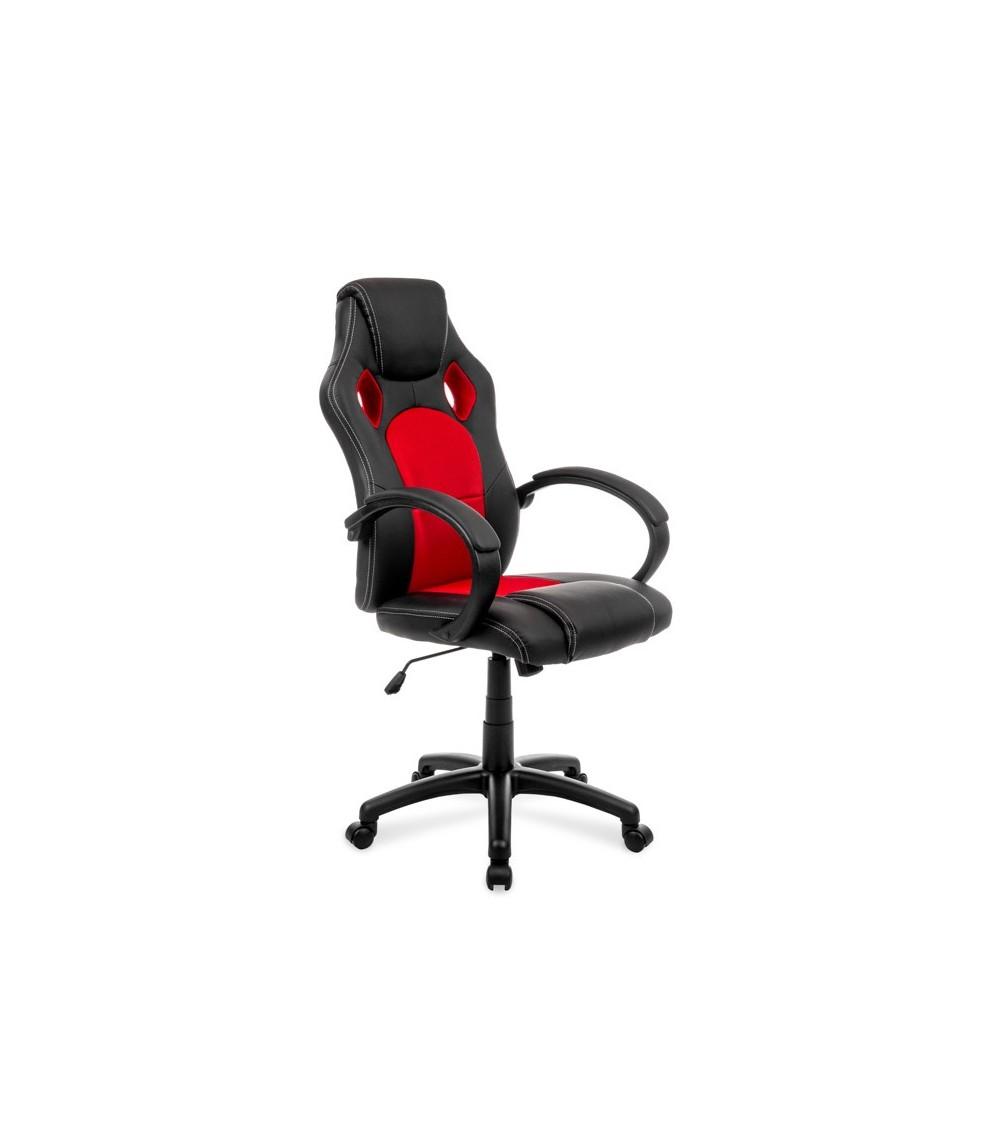 Červeno-černá kancelářská židle s nastavitelnou výškou.