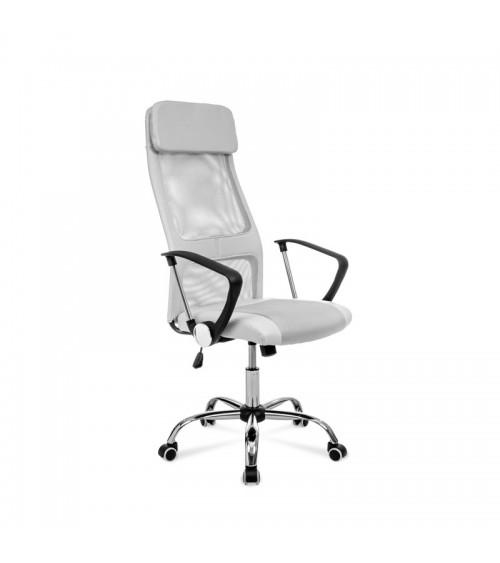 Šedá otočná židle k psacímu stolu s ergonomicky tvarovaným sedadlem a opěrkou hlavy.