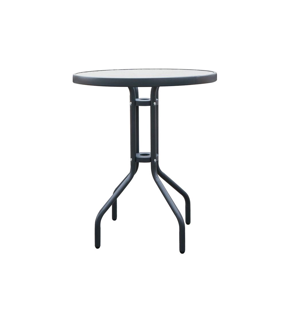 Kulatý stůl do zahrady má stabilní konstrukci a desku z tvrzeného skla.