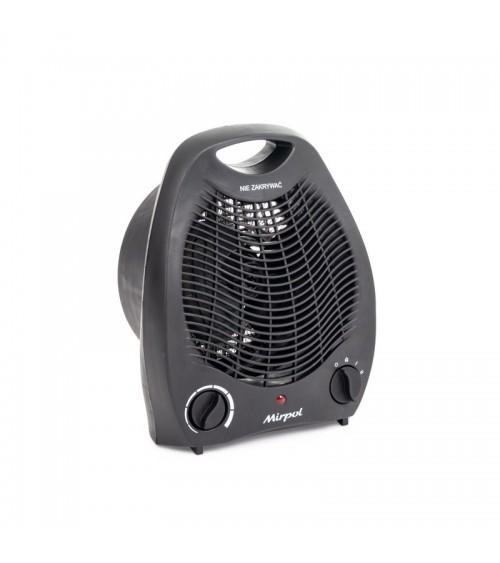 Černý termoventilátor do místnosti s nastavitelným výkonem.