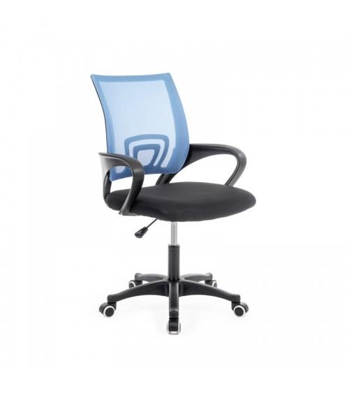 Modrá kancelářská židle s modrou síťovinou mesh a podporou zad.
