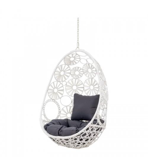 Bílé závěsné křeslo ve tvaru vajíčka se šedými polštáři - zahradní nábytek a pokojový nábytek