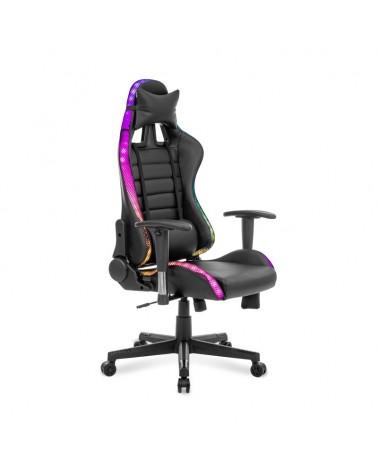 Herní židle se světelnými efekty.