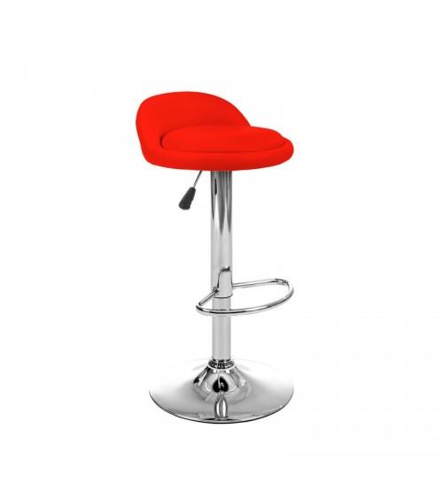 Červená, výškově nastavitelná otočná barová stolička