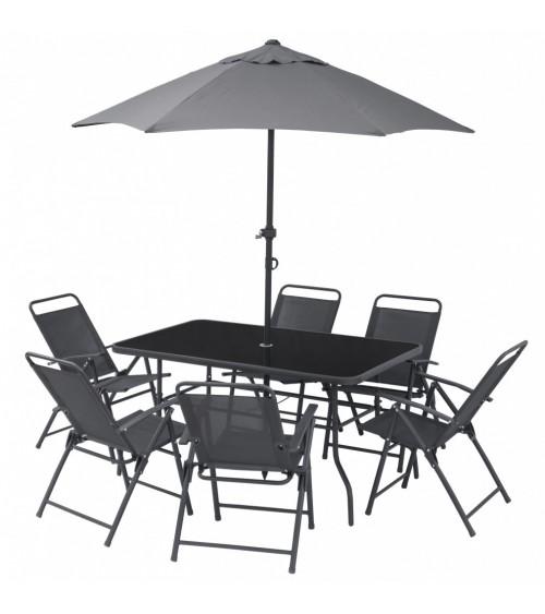 Komplet zahradního nábytku pro 6 osob zahrnuje stůl se slunečníkem a 6 židlí.