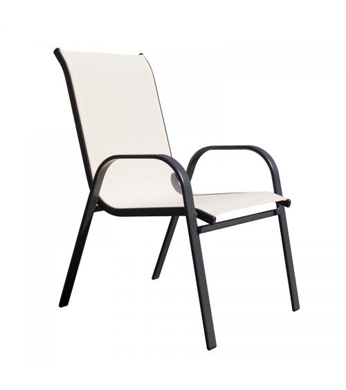 Kovová zahradní židle v barvě cappuccina s područkami a prodyšným opěradlem.
