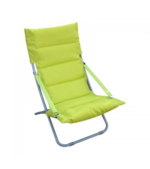 Zelené plážové lehátko s pohodlným sedadlem se snadno přepravuje.